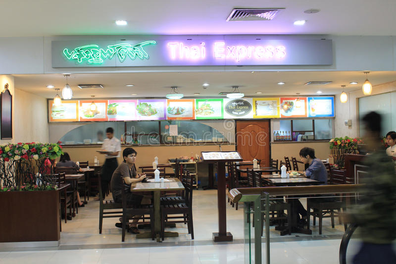 Thai express restaurant in Yangon stock photo