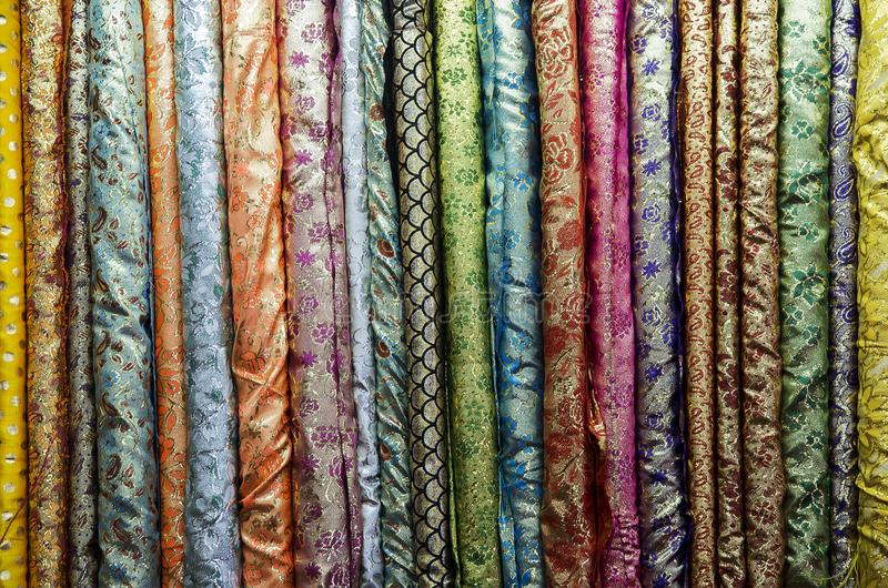 Thai fabric pattern textile and silk fabric stock photo