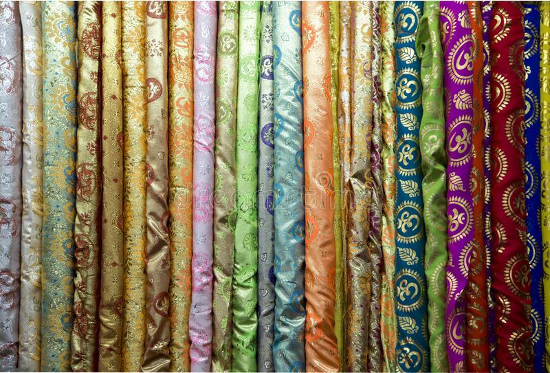 Thai fabric pattern textile and silk fabric royalty free stock photo