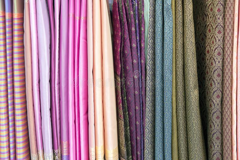 Thai fabric pattern textile and silk fabric royalty free stock image
