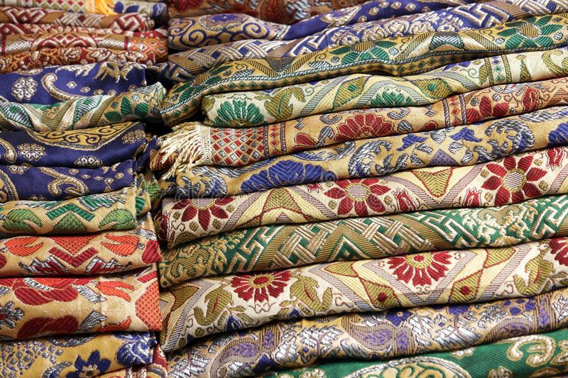 Thai Fabric Stack Stock Photo