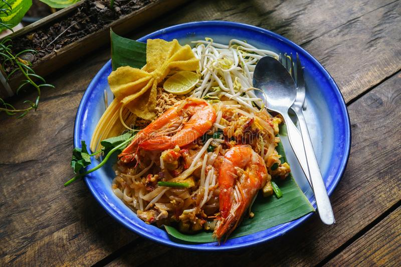 Thai famous food Padthai. Traditional style of Pad-Thai. Padthai is the Most popular Fried Noodle Thai Street Food. stock photo