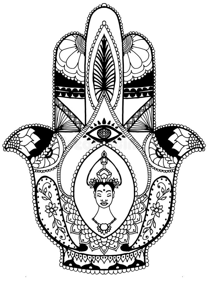Download Thai Female Buddha Hamsa Amulet Stock Illustration