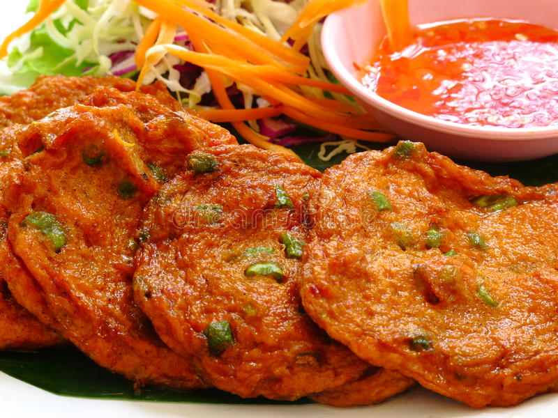 Thai Fish Cake. Thai Fried Fish Cake served with sweet chilli royalty free stock photo