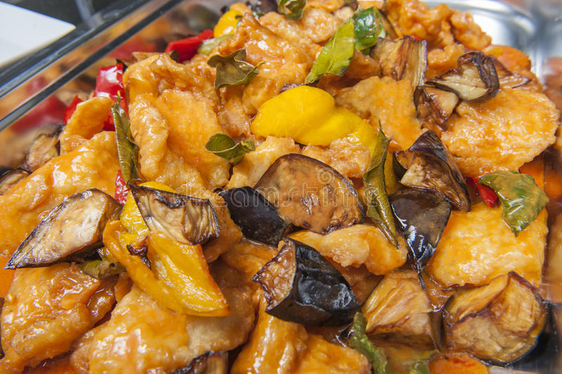 Thai fish curry meal at a chinese restaurant buffet. Closeup of thai fish curry meal on display at a hotel restaurant buffet royalty free stock image