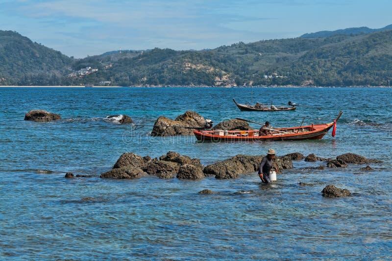 Thai Fishermen Catch Fish Editorial Photo