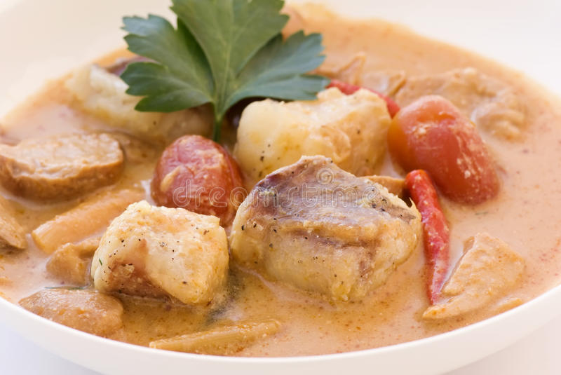 Thai Fishsoup. In a white bowl royalty free stock image