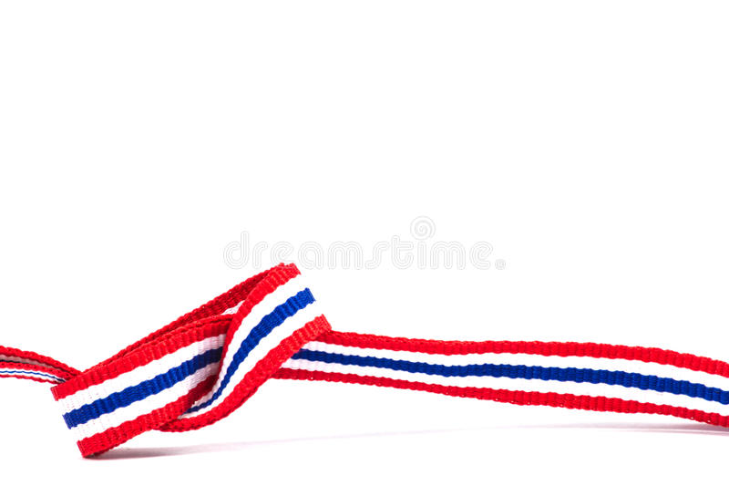 Thai flag ribbon pattern on white background and blank area.  stock image