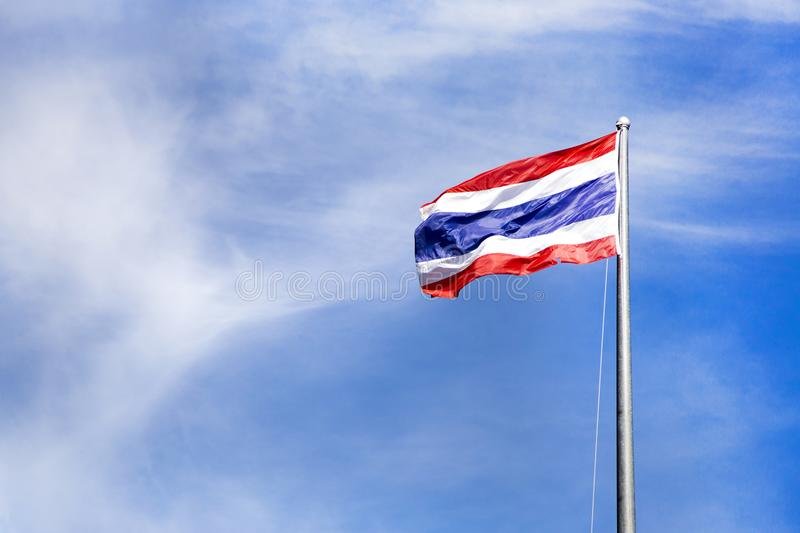 Thai flag on pole royalty free stock images