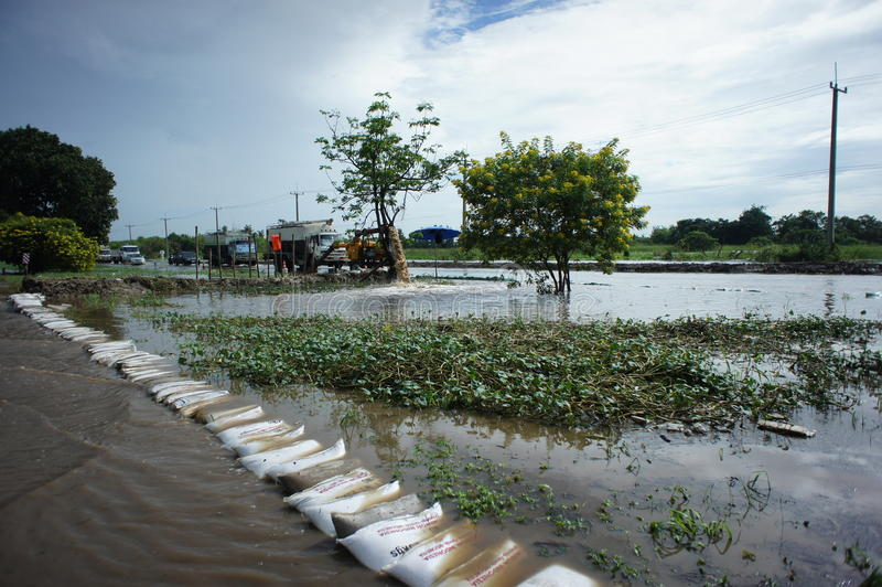 Thai Flood at Bangbuathong. Thailand flooding at Bangbuathong Nonthaburi stock images