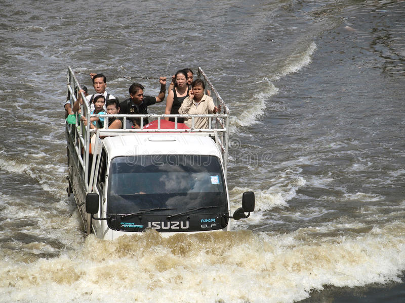 Thai flood hits Central of Thailand, higher water levels expected, during the worst flooding royalty free stock image