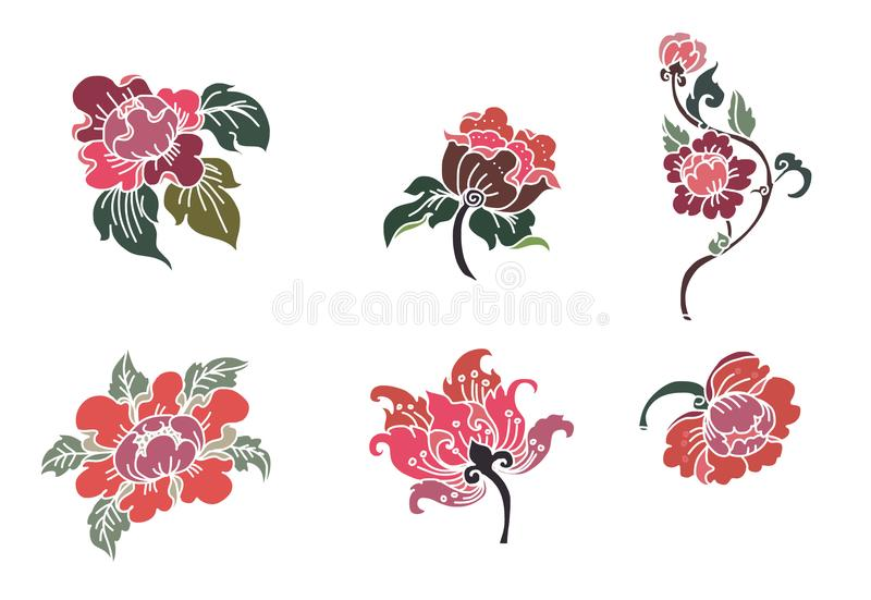 Thai flower vector.Outline and coloring book beautiful Line art Hibiscus mutabili flower. Peony flower Line Thai style.Thai flower vector.Outline and coloring vector illustration