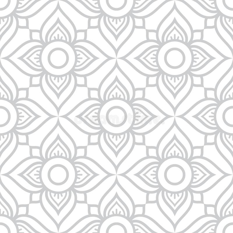 Thai flowers seamless pattern, grey floral repetitive design inspired by art from Thailand royalty free illustration