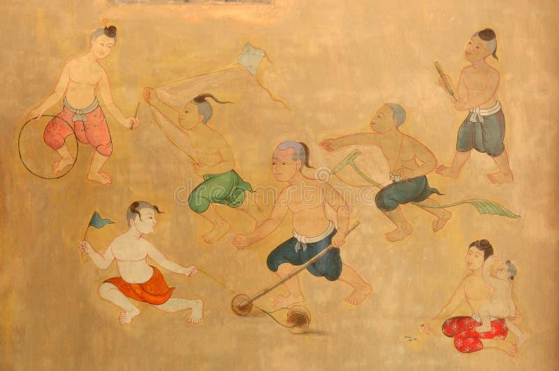 thai folk målning royaltyfri foto
