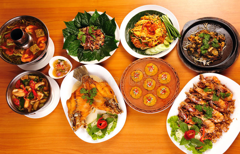 Thai food. Various Thai food put on the table for dinner stock image