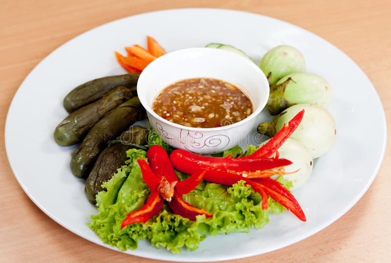 Thai Food. Spicy sauce with vegetable ready to serve stock image