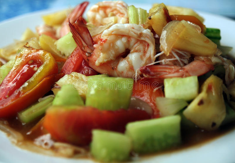 Thai Food 4. Local Thai food - vegetables with prawns royalty free stock images