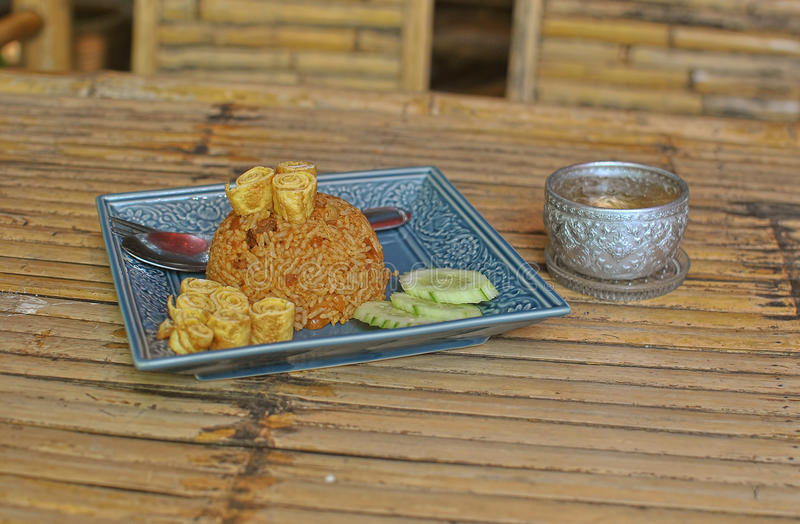 Thai food. On bamboo table royalty free stock images