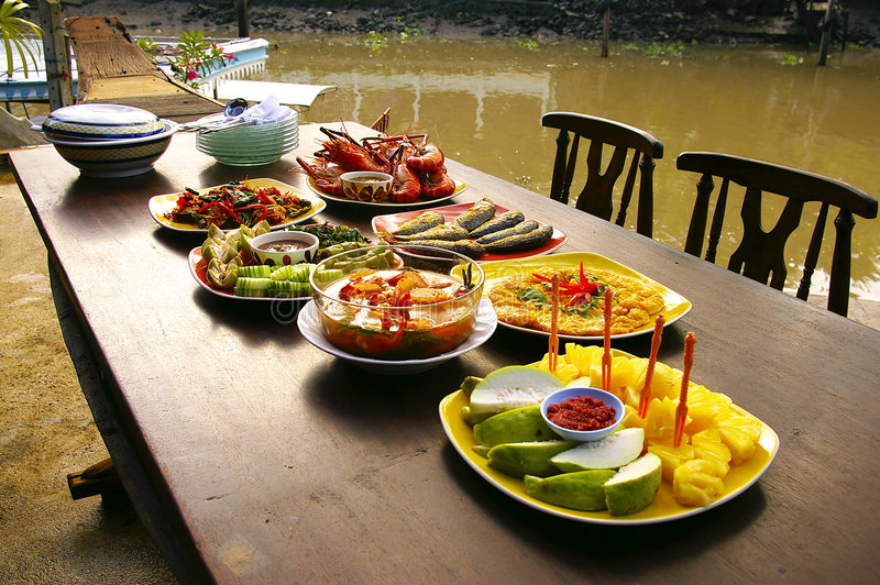 Thai food on the boat royalty free stock photography