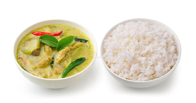 Thai food chicken green curry in the white bowl and rice royalty free stock photography