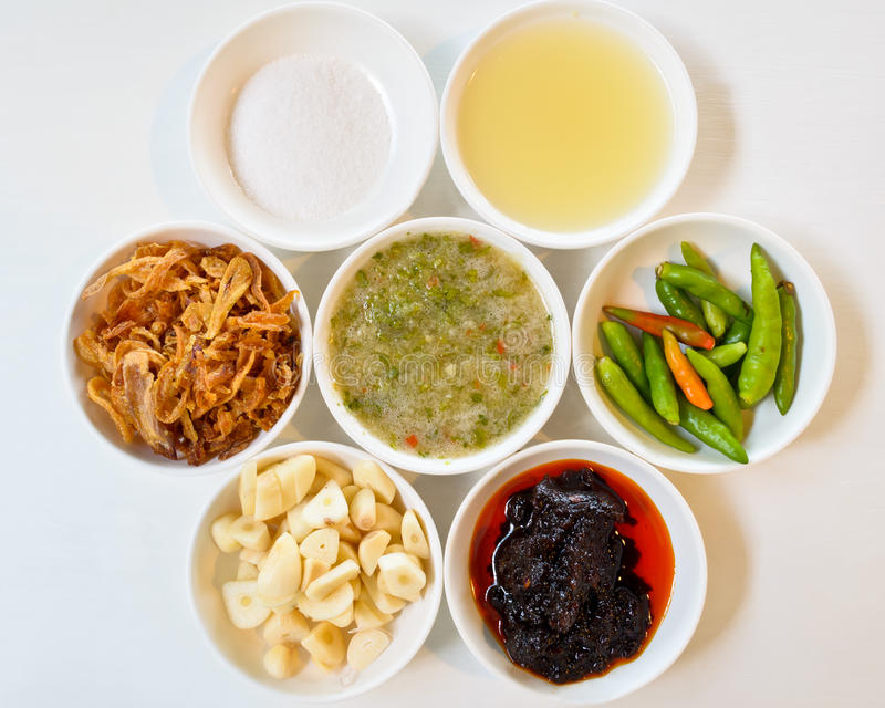 Thai food components. Thai food components, In a separate small cups stock images