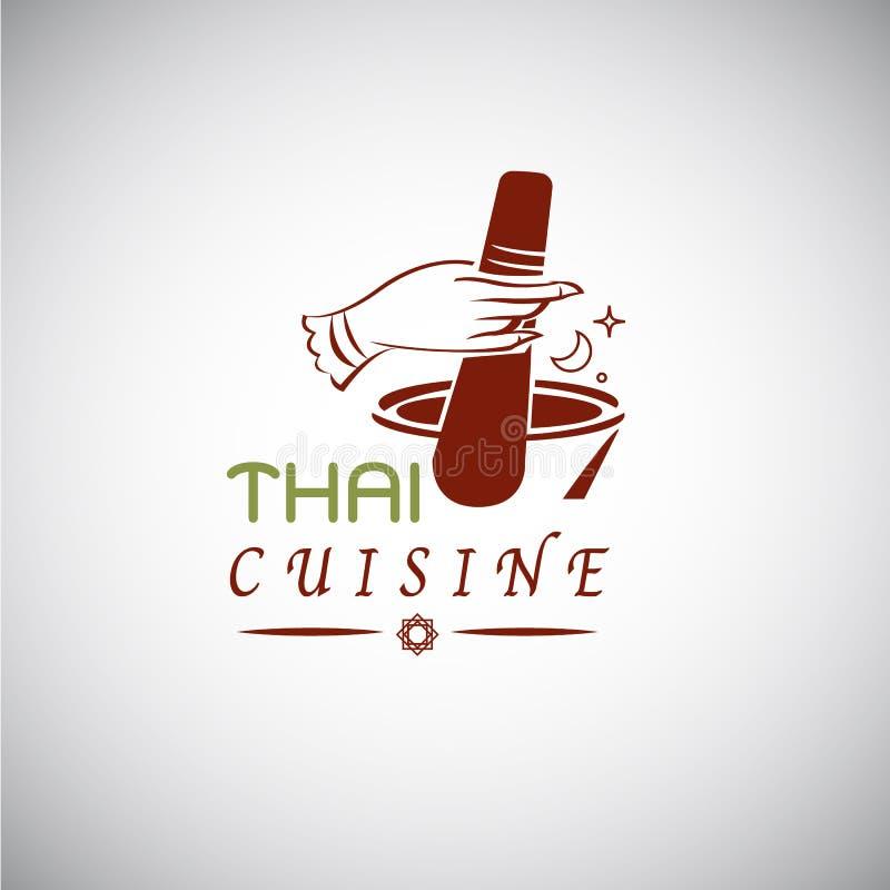 Thai food concept. Thai cuisine logo design. hand draw in Thai s vector illustration