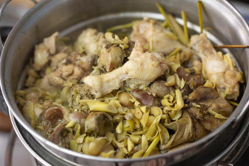 Thai food cooking,steamed chicken with lemongrass stock photo