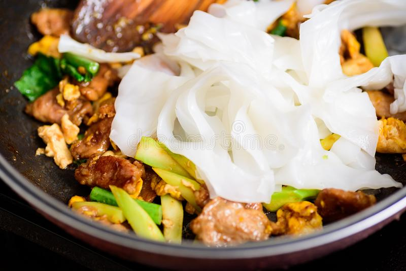 Stir fried rice noodle in soy sauce Pad See Ew royalty free stock images