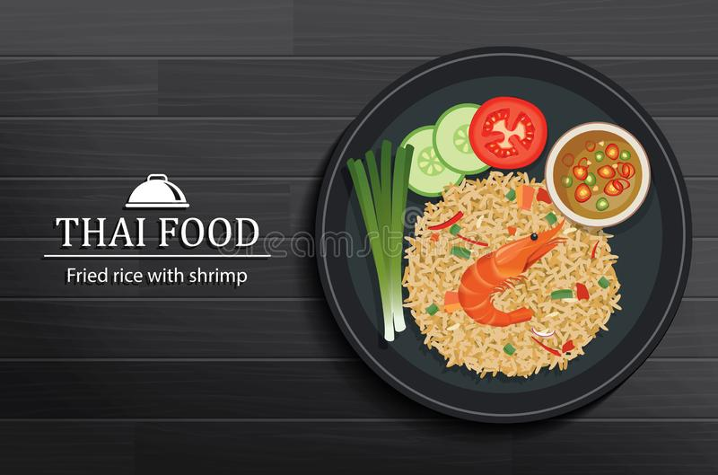 Thai food in the dish on black wooden table top view. Fried rice with shrimp royalty free illustration