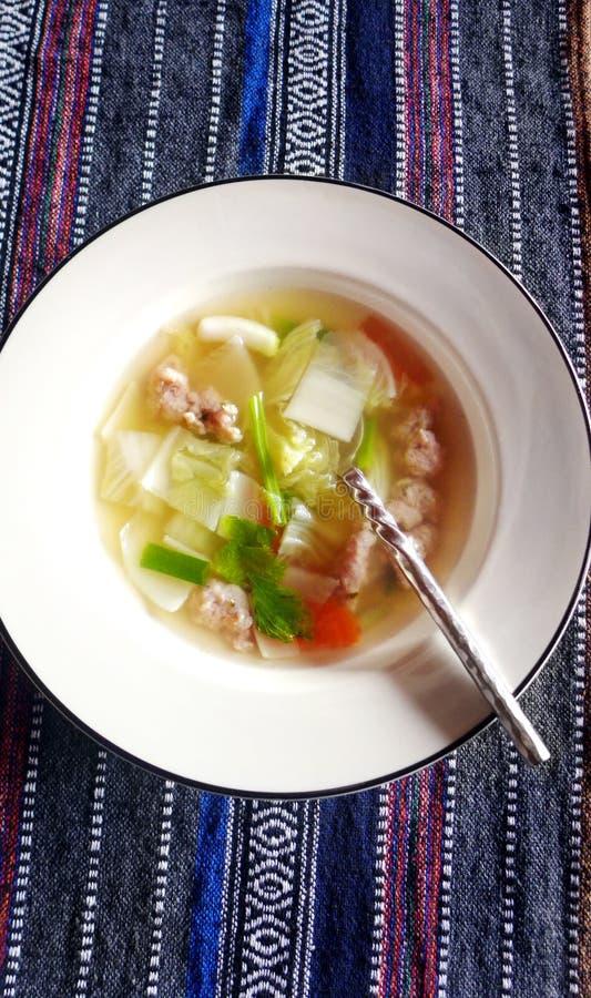 Thai food dish chicken dumpling soup stock photos