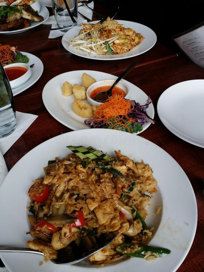 Thai food feast with various food selctions stock photos