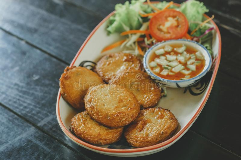 Thai Food Fish Cake. Thai Food Curried fish cake. Fish Cake Tod Mun Pla stock image