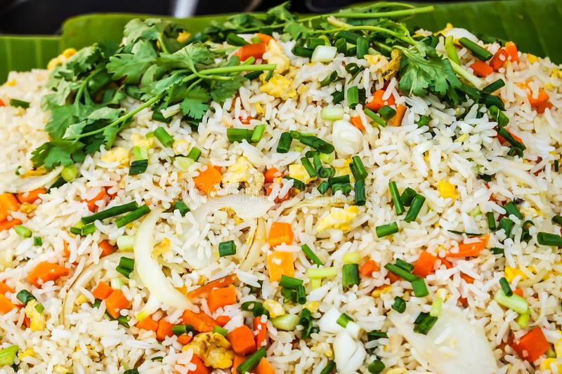 Thai food, fried rice is seafood and eggs for sale at Thai street food market or restaurant in Bangkok Thailand royalty free stock images