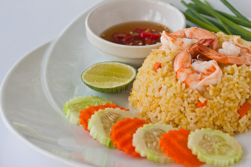 Thai food fried rice with shrimp stock photo