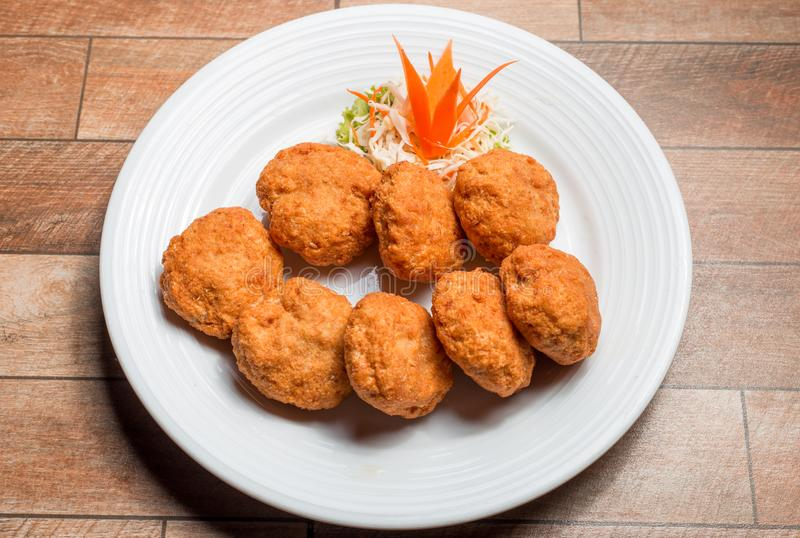 Thai Food Fried Shrimp Cake Tod Mun Kung on white plate stock photos
