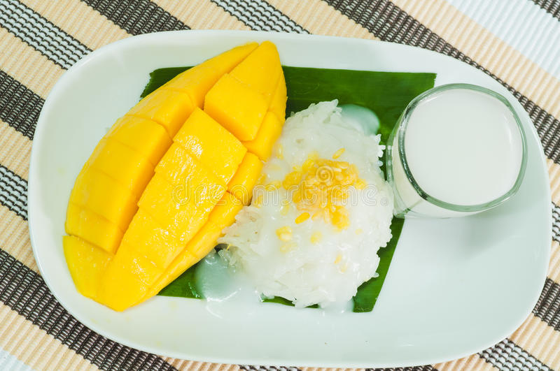 Thai food. Food thai healthy dessert mango stock photo