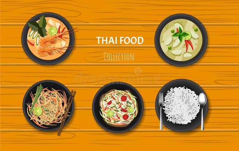Thai Food Icons Set. traditionelles Restaurant, Küche und Menü, Vektorgrafik lizenzfreie abbildung