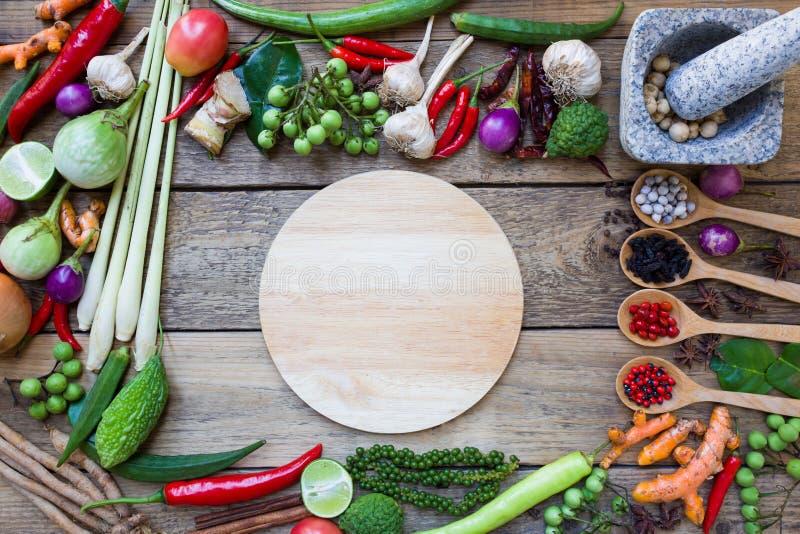 Thai food ingredients, vegetable, spicy taste. Top view stock photography