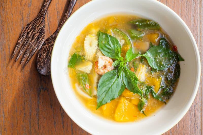 Thai food, Kang liang, Shrimp mushhroom and vegetable. On table stock image