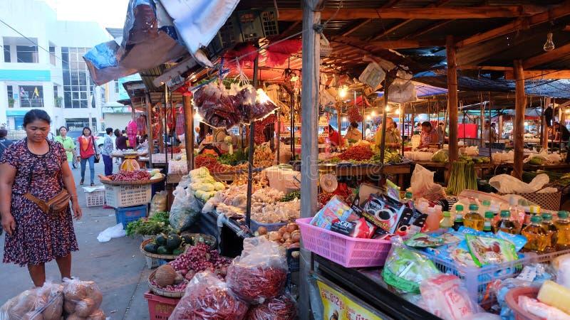 Thai food market in the morning. KRASANG,BURIRAM,THAILAND stock image