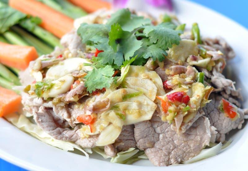 Thai Food : Mix pork with spicy hot chili. Thai Food : Mix pork with spicy hot herb chili royalty free stock photo