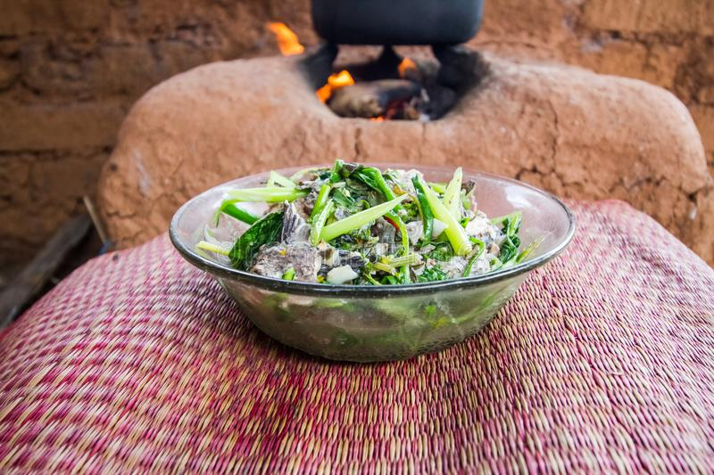 Thai food. With mud stove background royalty free stock photos