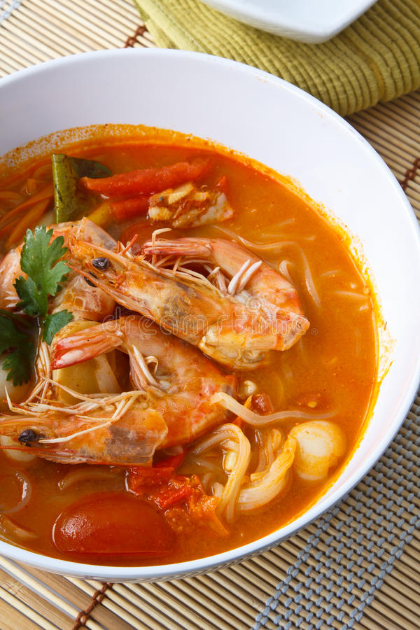 Thai food, Noodles in Sour and spicy shrimp soup royalty free stock images