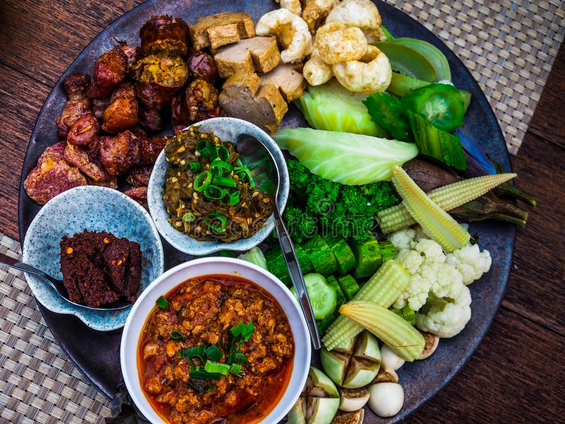 Thai food - Northern style dips with northern thai spicy sausage stock photo