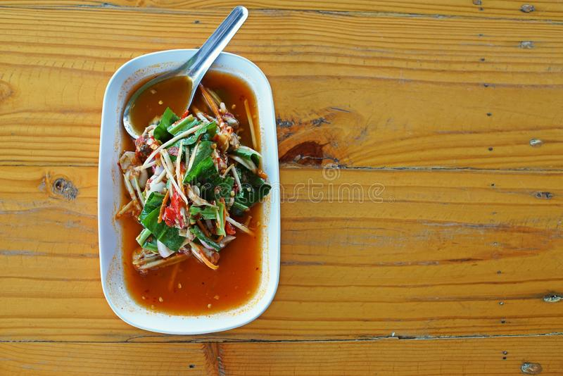 Thai food, oyster sour and spicy salad. Variety of fresh ingredient stock image