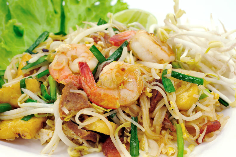 Thai food Pad thai. Stir fry noodles with shrimp royalty free stock images
