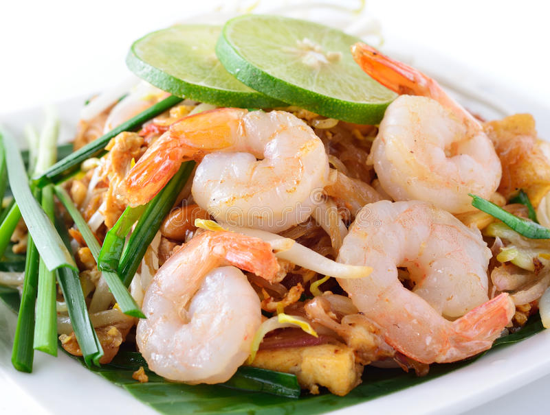 Thai food Pad thai. Stir fry noodles with shrimp royalty free stock photos