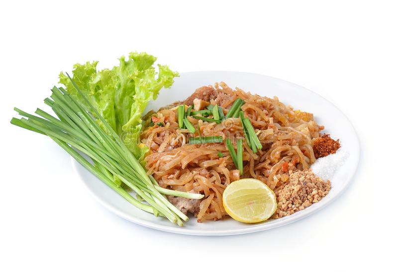 Thai food Pad thai , Stir fry noodles with shrimp royalty free stock images