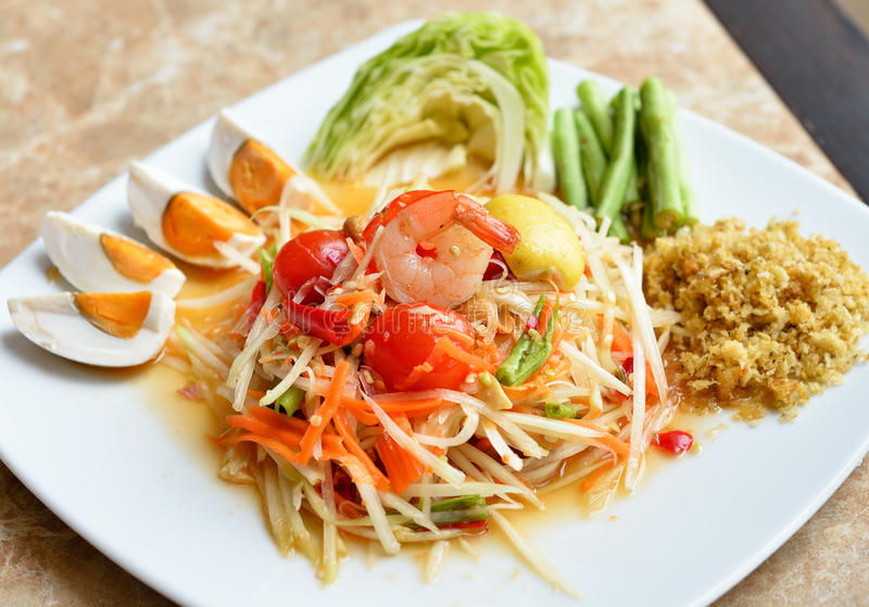 Thai Food. Papaya Salad ,Som Tum Thai Food royalty free stock image