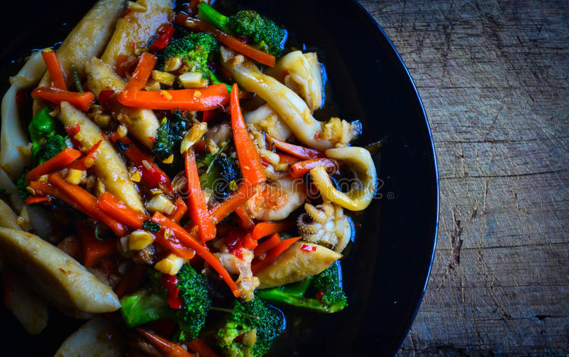 Thai food. Phad kra phera stock photos